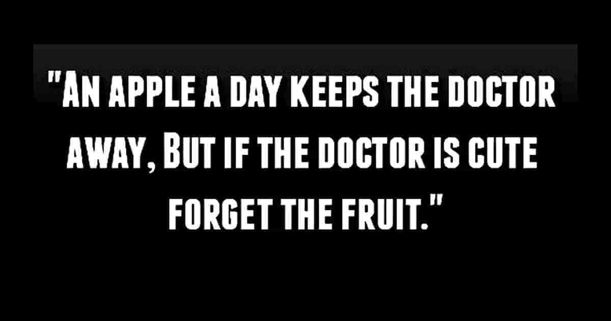 Cute doctor and apple saying