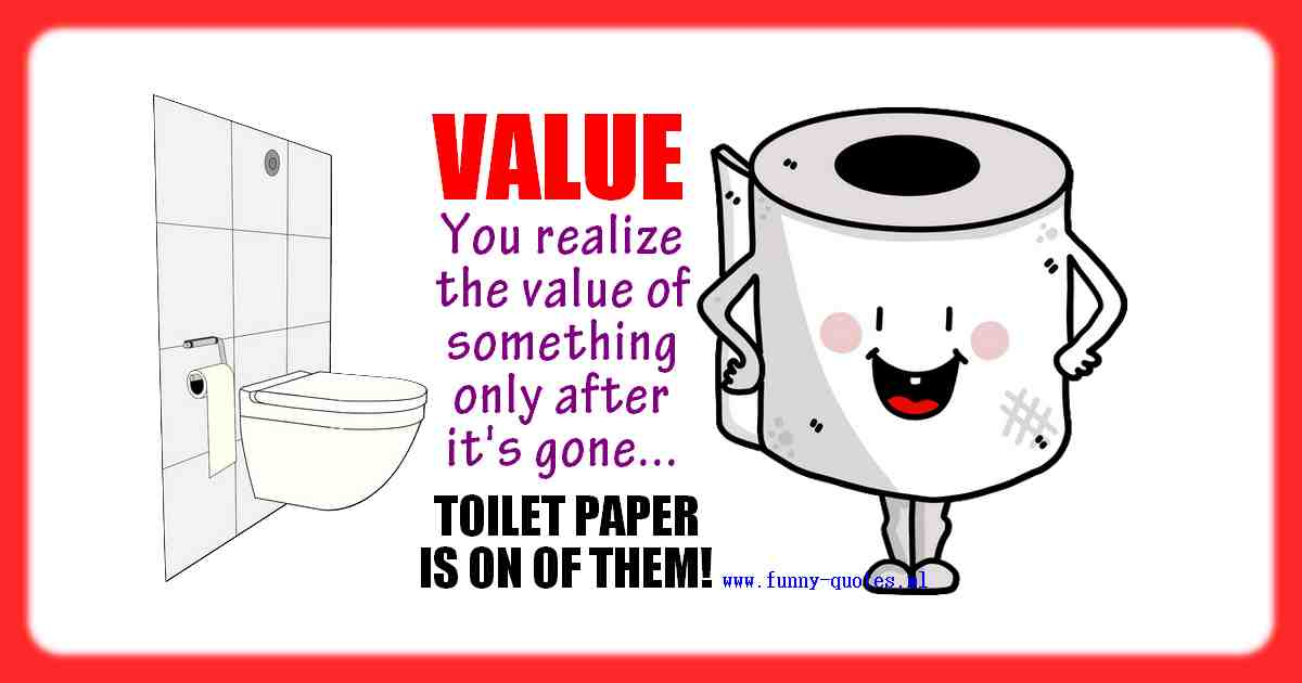 You realise the true value of something only after it's gone. Toilet paper is a good example!